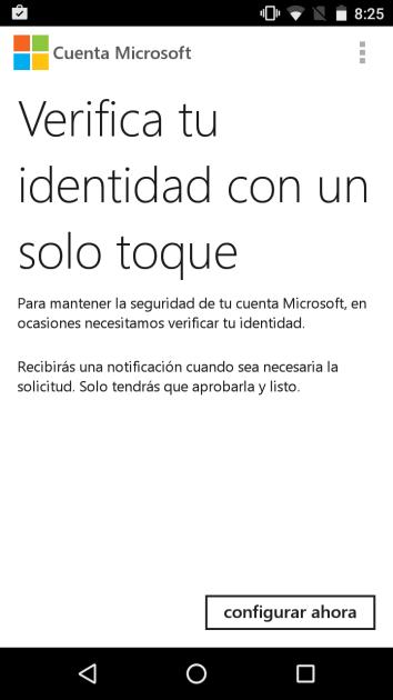 Acesos en dos pasos en Cuenta de Microsoft