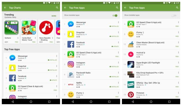 Nuevo deslizador en Play Store para ocultar aplicaciones instaladas
