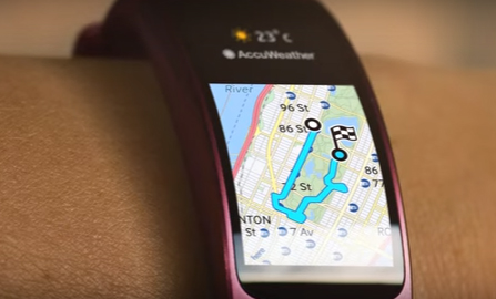 Samsung Gear Fit 2 mapa en pantalla