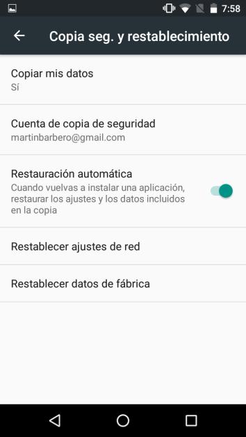 Restaurar copia de seguridad en Android