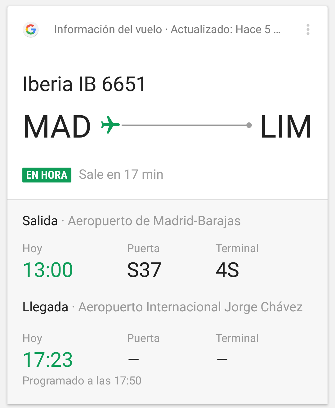 Google Now Vuelo