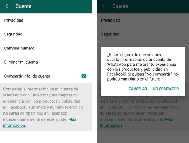 WhatsApp ajustes Facebook