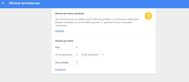 Opciones de borrado por lotes de voz en Android