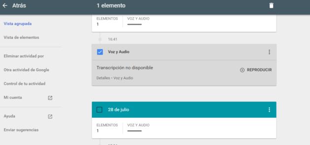 Opciones disponibles en la voz grabada por Google en Android