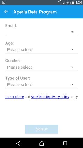 Programa de prueba para Nougat del Sony Xperia X Performance