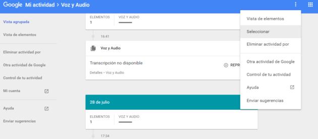 Listado de entradas grabadas por Google al utilizar Android