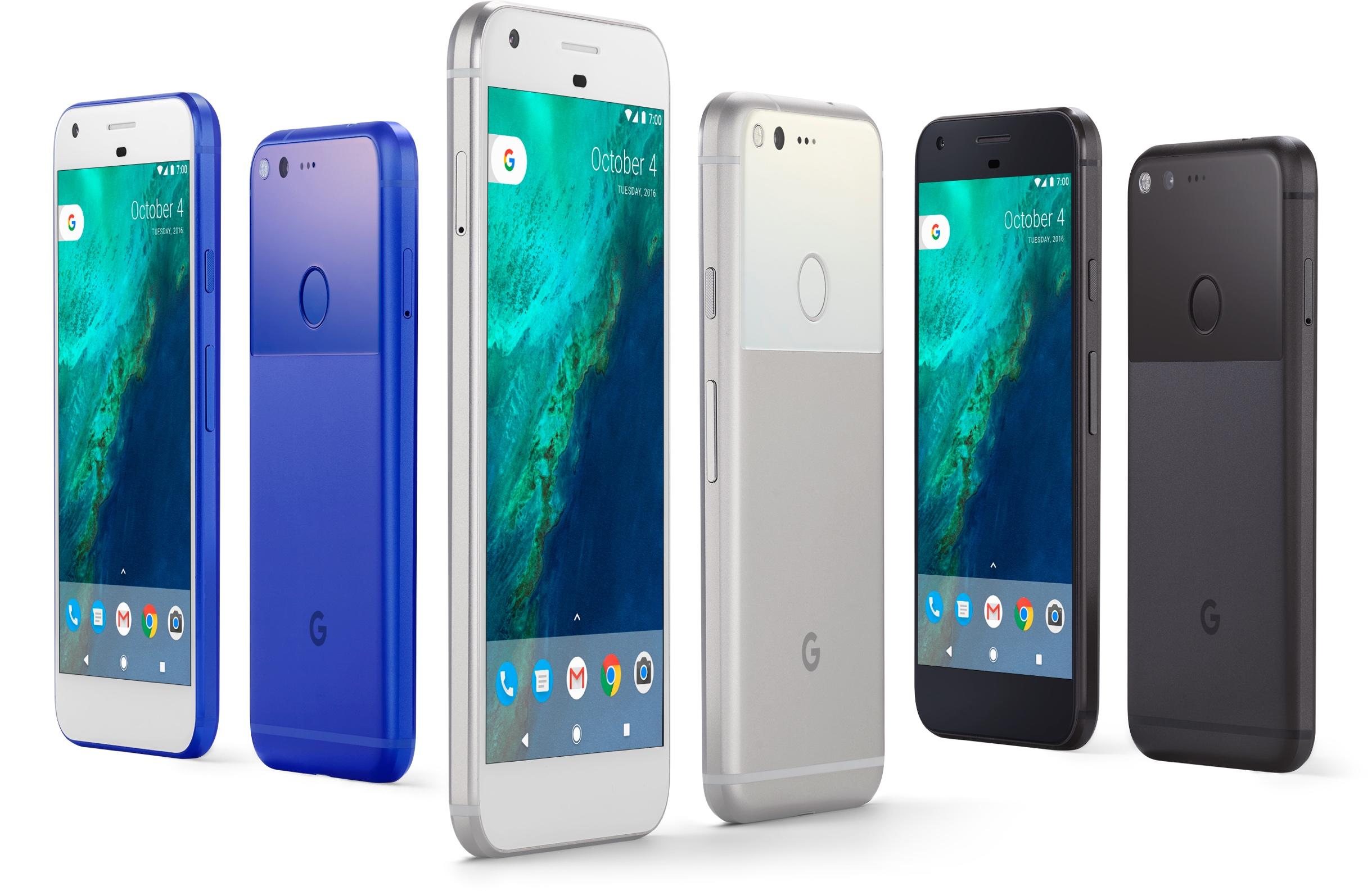 Google Pixel en los tres colores: azul, plata y negro