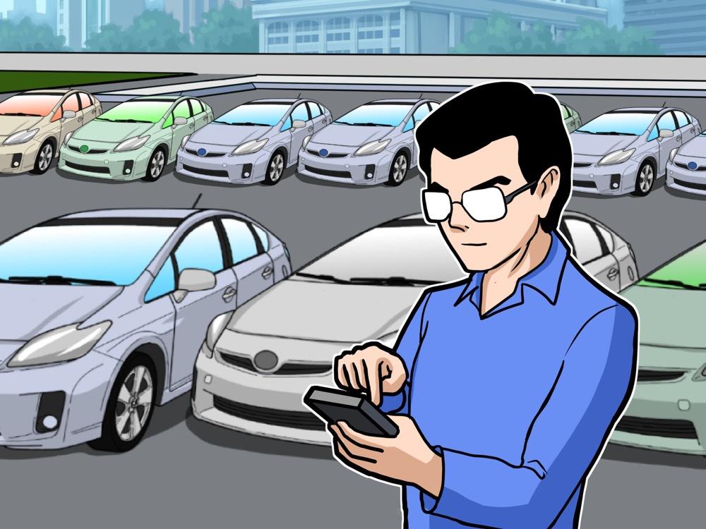 hombre usando el movil para encontrar un coche