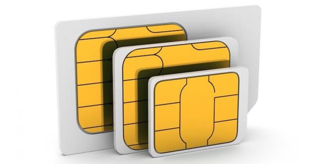 Tres tarjetas SIM de diferentes tamaños: SIM, Micro SIM y Nano SIM